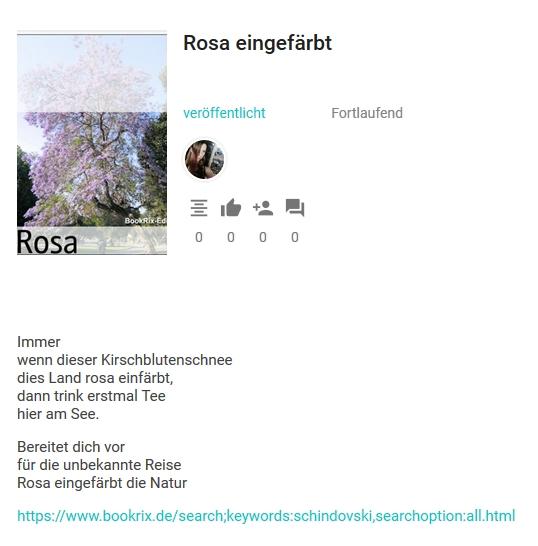 Bildgedicht: Rosa eingefärbt